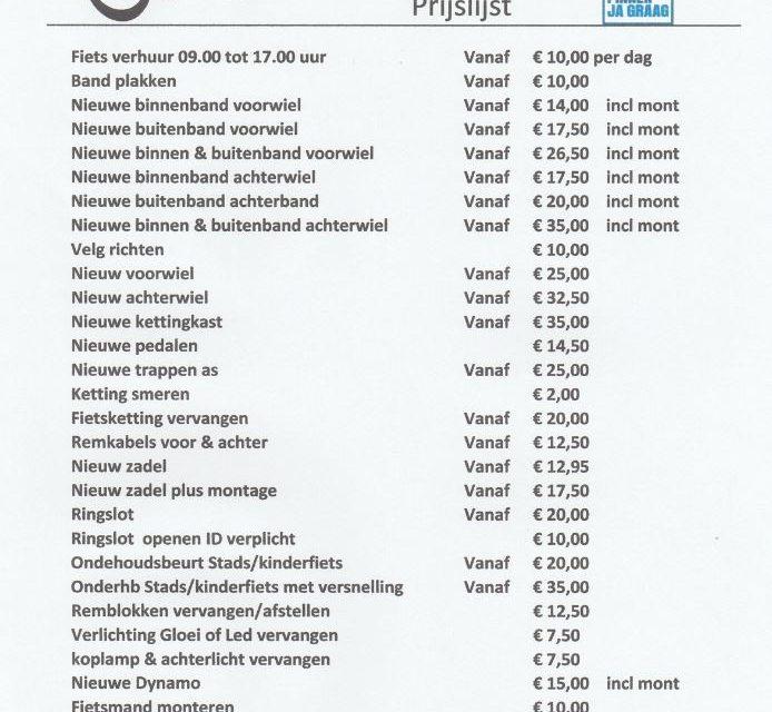 Prijslijst van Haalen Fietsen